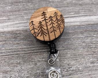 Pine Trees Badge Reel, Rustic Badge Reel, Custom ID Badge, Retractable Badge Reel, Work Badge, Work ID, Personalized Badge, Co Worker Gift