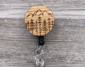 Mountains and Pine Trees Badge Reel, Custom ID Badge, Retractable Badge Reel, Work Badge, Work ID, Personalized Badge, Co Worker Gift