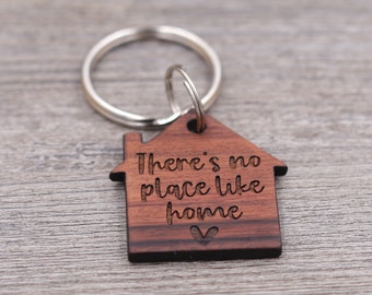 There's No Place Like Home, House Shaped Keychain, New Home Gift, Realtor Gift, Housewarming Present, Wood Keychain, Custom Wood Keychain