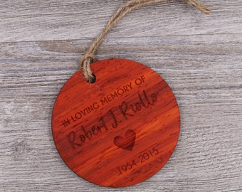 In Memory Ornament - Personalized Wood Christmas Ornament - Custom Ornament - Christmas Gift - Remembrance Gift - Personalized Gift