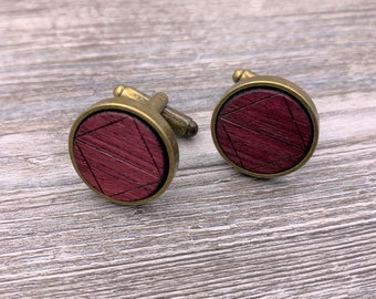 Purpleheart, Wood Cuff Links, Silver Cuff Links, Antique Bronze Cuff Links, Gun Metal Cuff Links, Groomsmen gift, 5th Wedding Anniversary