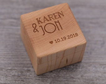 Personalized Ring Box - Custom Wood Ring Box - Ring Bearer Box - Engagement - Proposal Ring Box - Anniversary Gift - 5 Year Anniversary