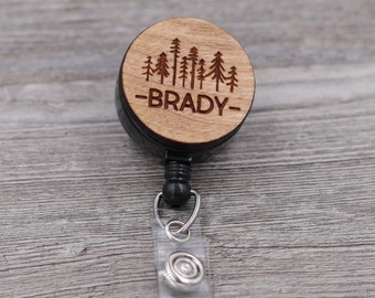Pine Trees Badge Reel, Name Badge Reel, Custom ID Badge, Retractable Badge Reel, Work Badge, Work ID, Personalized Badge, Co Worker Gift