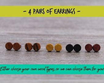 4 pairs of wood earrings, Wood earrings, Wood stud earrings, Womens earrings, Mens earrings, Unisex Earrings, Custom Earrings, Tiny Earrings