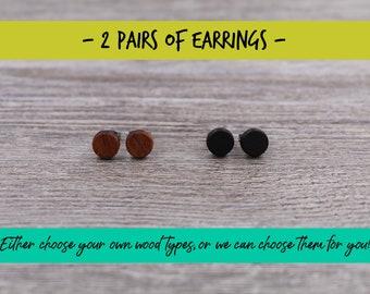 2 pairs of wood earrings, Wood earrings, Wood stud earrings, Womens earrings, Mens earrings, Unisex Earrings, Custom Earrings, Tiny Earrings