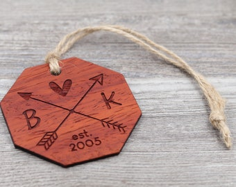 Arrow Design, Couples Ornament, Friends, Personalized Wood Christmas Ornament, Custom Ornament, Christmas Gift, Holiday Gift, Anniversary