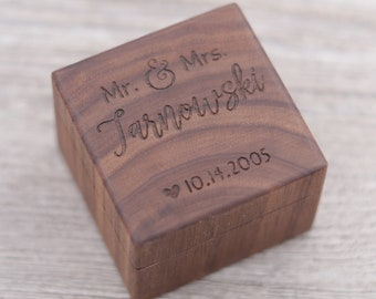 Mr. and Mrs., Personalized Ring Box, Custom Wood Ring Box, Ring Bearer Box, Engagement, Keepsake Box, Jewelry Box, Proposal Ring Box