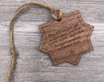 Joy, Faith, Hope, Love, Custom Christmas Ornament, Custom Wood Ornament, Christmas Gift, Holiday Gift, Wood Ornament, Personalized Gift