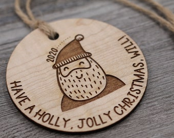 Santa Ornament, Name Ornament, Personalized Wood Ornament, Custom Ornament, Christmas Ornament, Holiday Gift, Personalized Gift