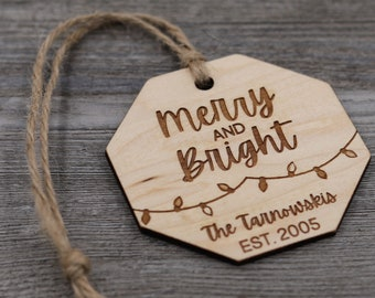 Merry and Bright, Family Ornament, Personalized Wood Christmas Ornament, Custom Ornament, Christmas Gift, Holiday Gift, Personalized Gift