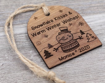Snowman Ornament, Name Ornament, Personalized Wood Ornament, Custom Ornament, Christmas Ornament, Holiday Gift, Personalized Gift