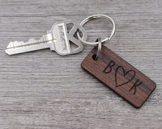 Initials with Outline Heart Keychain, Personalized Keychain, Custom Wood Key Chain, Gift for Him, Gift for Her, Anniversary Gift, Small Gift