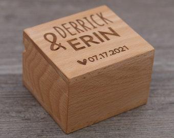 Name Box, Personalized Ring Box, Custom Wood Ring Box, Ring Bearer Box, Engagement, Proposal Ring Box, Anniversary Gift, 5 Year Anniversary