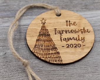Christmas Tree, Family Ornament, Personalized Wood Christmas Ornament, Custom Ornament, Christmas Gift, Holiday Gift, Personalized Gift
