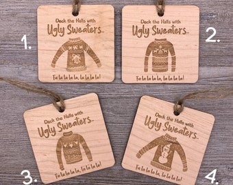 Ugly Sweater, Personalized Ornament, Personalized Wood Christmas Ornament, Custom Ornament, Christmas Gift, Holiday Gift, Wood Ornament