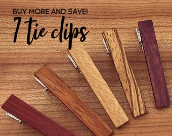 7 Wood Tie Clips - Groomsmen gift - 5th wedding anniversary present - Wood Tie Bars - Personalized Tie Clips - Gift for Him