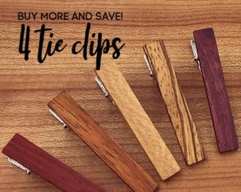 4 Wood Tie Clips - Groomsmen gift - 5th wedding anniversary present - Wood Tie Bars - Personalized Tie Clips - Gift for Him