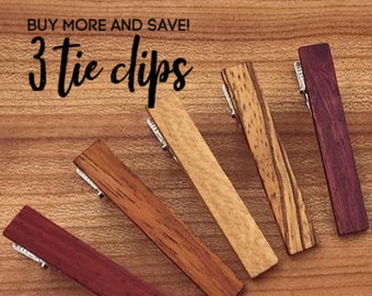 3 Wood Tie Clips - Groomsmen gift - 5th wedding anniversary present - Wood Tie Bars - Personalized Tie Clips - Gift for Him