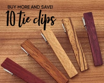 10 Wood Tie Clips - Groomsmen gift - 5th wedding anniversary present - Wood Tie Bars - Personalized Tie Clips - Gift for Him