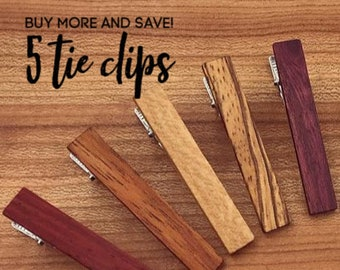 5 Wood Tie Clips - Groomsmen gift - 5th wedding anniversary present - Wood Tie Bars - Personalized Tie Clips - Gift for Him