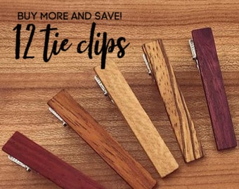 12 Wood Tie Clips - Groomsmen gift - 5th wedding anniversary present - Wood Tie Bars - Personalized Tie Clips - Gift for Him