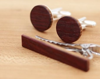 Wine Barrel Wood Cuff links and Wood Tie Clip set - Groomsmen gift - 5th Wedding Anniversary Present - Gift for Him