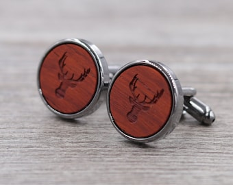 Padauk Personalized Wooden Cuff links -  Gun Metal Cufflinks - Custom Engraving - Groomsmen gift - 5th Wedding Anniversary Present