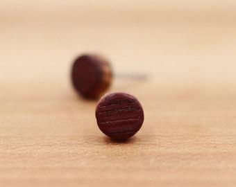 Wine Barrel Wood Earrings - Wood earrings - Wood stud earrings - Womens earrings - Mens earrings - Tiny Earrings - Small Earrings