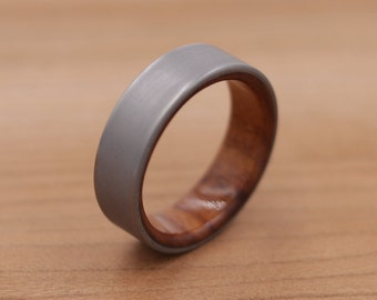 Titanium Ring Lined with Bolivian Rosewood - Sand Blasted Finish - Wedding Band - Unique Wedding Ring