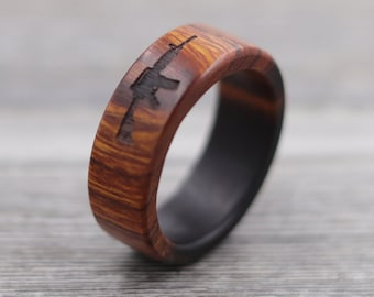 Desert Ironwood Rifle Ring, Custom Wood, Ring - Wooden Ring, Mens Jewelry, 5 Year Anniversary, Father's Day