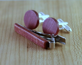 Wooden Cufflinks and Tie Bar set - Purpleheart - Groomsmen gift - 5th wedding anniversary present - Round Cuff Link - Gift for Him