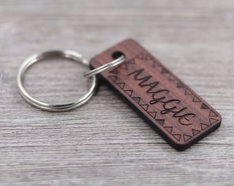 Name Keychain - Personalized Rosewood Keychain - Custom Wood Key Chain - Engraved Keychain - Bridesmaids Gifts - Friend Gift