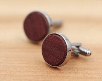 Wine Barrel Wood Cuff links - Gun Metal Cuff links - Groomsmen gift - 5th Wedding Anniversary Present - Personalize