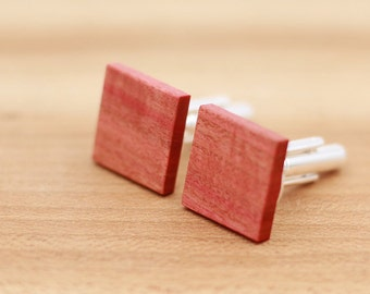 Wood Cuff links - Pink Ivory wood - Groomsmen gift - 5th wedding anniversary - Square Cuff Links - Gift for Him- Mens Jewelry - Personalized