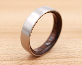 Titanium Ring Lined with Wenge - Wedding Band - Unique Wedding Ring