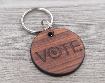 Vote Keychain, 2020 Election, Key Chain, State Keychain, Personalized Keychain, Custom Wood KeyChain, Gift for Him, Gift for Her, Small Gift
