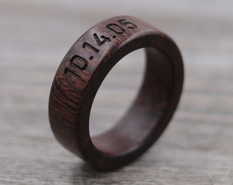 Brown Ebony Ring - Guayacan Wood - Engraved Wood Ring - Unique Wedding Ring - Wedding Ring - Wooden Ring - Mens Jewelry - 5 Year Anniversary