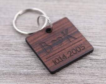 Initials and Heart Keychain, Important Date, Couples Gift, Wedding Gift, Anniversary Gift, Personalized Keychain, Custom Wood Key Chain