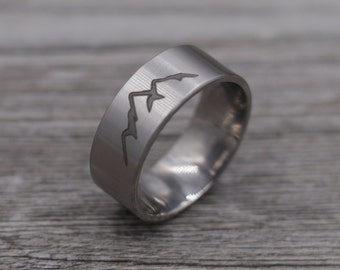 Titanium Mountain Ring,Titanium Band, Wedding Band,Personalized Ring,Engraved Ring,Custom Ring,Wedding Ring,Unique Ring,Mens Jewelry