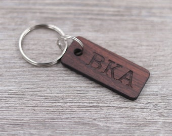 Initials Keychain, Name Keychain, Personalized Rosewood Keychain, Custom Wood Key Chain, Engraved Keychain