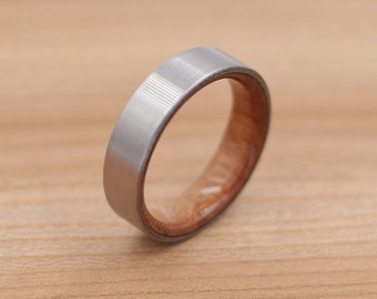 Titanium Ring Lined with Cherry - Wedding Band - Unique Wedding Ring - Titanium Wedding Band