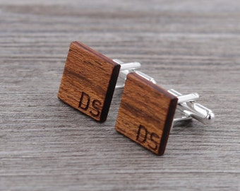 Wooden Cufflinks - Brazilian Cherry - Groomsmen gift - 5th wedding anniversary - Round Cuff Link - Gift for Him - Mens Jewelry - Personalize
