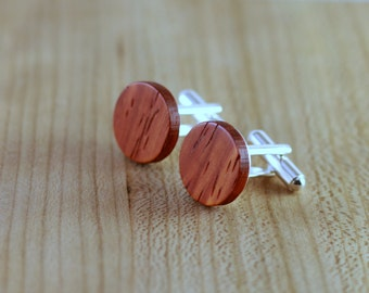 Wooden Cufflinks - Padauk - Groomsmen gift - 5th wedding anniversary present - Round Cuff Link - Gift for Him - Mens Jewelry