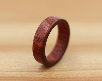 Bloodwood Ring - Personalized Wood Ring - Unique Wedding Ring - Natural Jewelry - Wedding - Wooden Ring - Mens Jewelry - 5 Year Anniversary