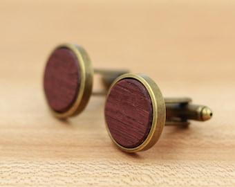 Wine Barrel Wood Cuff links - Antique Bronze Cuff links - Groomsmen gift - 5th Wedding Anniversary Present - Personalized Cuff Links