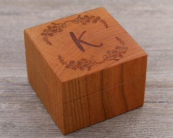 Personalized Ring Box - Custom Wood Ring Box - Ring Bearer Box - Engagement - Keepsake Box - Jewelry Box - Proposal Ring Box