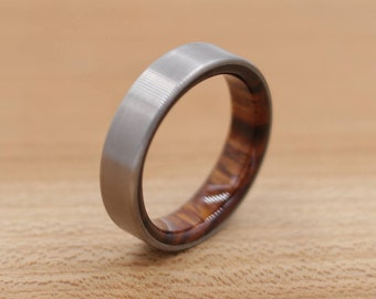 Titanium Ring Lined with Desert Ironwood - Wedding Band - Unique Wedding Ring