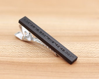 Coordinates Wood Tie Clip - African Blackwood - 5th wedding anniversary present - Groomsmen gift