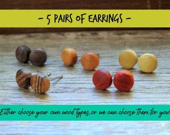 5 pairs of wood earrings, Wood earrings, Wood stud earrings, Womens earrings, Mens earrings, Unisex Earrings, Custom Earrings, Tiny Earrings