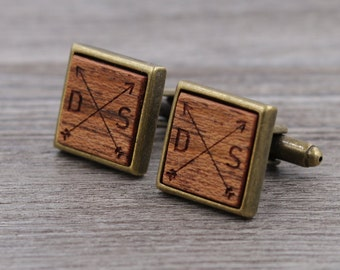Brazilian Cherry Personalized Wooden Cuff links - Antique Bronze - Custom Engraving - Groomsmen gift - 5th Wedding Anniversary Present